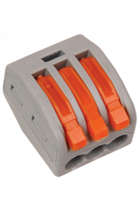 Сполучна клема 3-контактна WAGO(Китай) (0,05-4мм) 32А/400V помаранчева LMА301