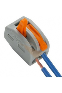 Клемма WAGO (оригінал) 2 провода х 2,5мм з натискним важелем 222-412