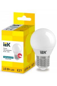 Лампа LED ALFA G45 куля 10Вт 230В 4000К E27 IEK